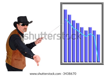 Texas  businessman pointing to a (fictitious) chart, bad progress sales, diagram. Business, communication, economy, corporate concept.