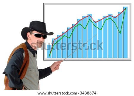 Texas  businessman pointing to a (fictitious) chart, diagram. Business, communication, economy, corporate concept.