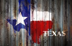 Texas flag and map on old wood plank background