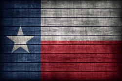 Texas flag pattern on wooden board texture ,retro vintage style