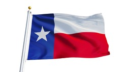 Texas flag waving on white background, close up, isolated with clipping path mask alpha channel transparency