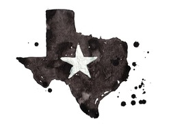 Texas grunge map with star. Retro distressed illustration with state map.