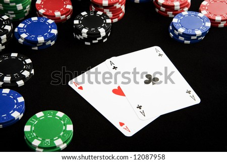 Texas Hold'em Poker hand with pair of aces winning a lot of money.