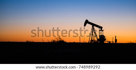Texas Oil Pump Jack Fracking Crude Extraction Machine Sunset