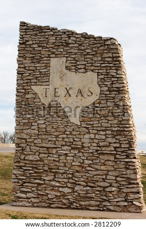 Texas road marker made of stacked stone