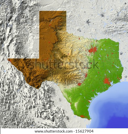 Elevation Map of Texas Texas Shaded Relief Map