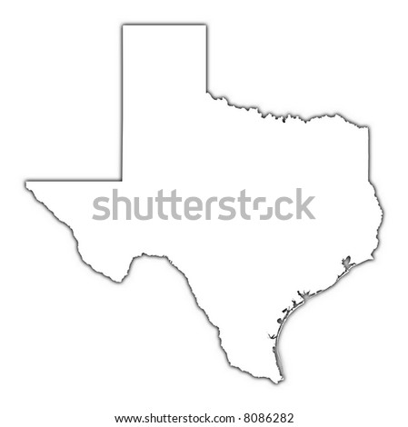 Texas (USA) outline map with shadow. Detailed, Mercator projection.