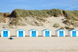 Texel. Little white-blue houses in the dunes in Holland (Texel) on a good weather