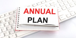 text ANNUAL PLAN on keyboard on white background