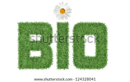 Text BIO of green grass with flower