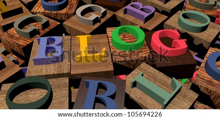 Text 'Blog' on wooden blocks among other letters