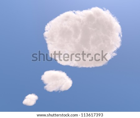 Text bubble cloud shape, isolated on white background