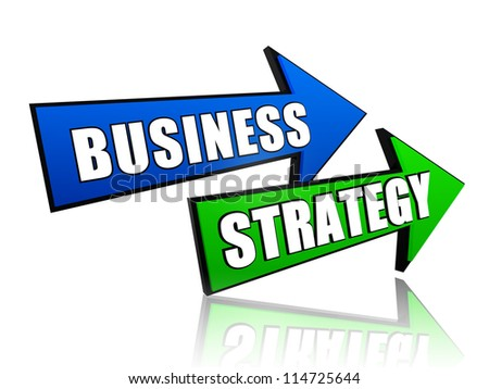 text business strategy in 3d blue and green arrows - stock photo
