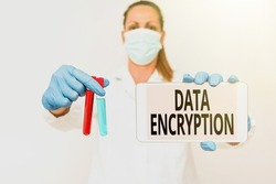 Text caption presenting Data Encryption. Concept meaning Symmetrickey algorithm for the encrypting electronic data Studying New Medical Technology Presenting Medicine For The Virus