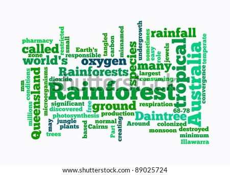 text clouds rainforest on white background