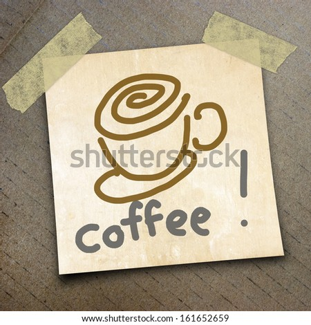 text coffee on shortnote paper on the packing paper box texture background