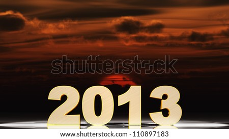 Text 3d 2013 gold texture. Futuristic sunset
