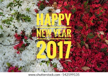 Text design of happy new year 2017 with background of bunch of flowers #542599135