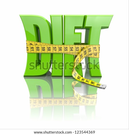 Text Diet and measuring tape on white background. 3d