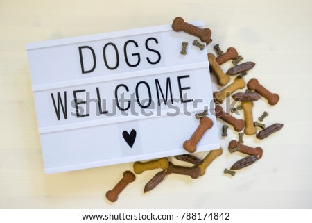 Text dogs are welcome written on lightbox. #788174842