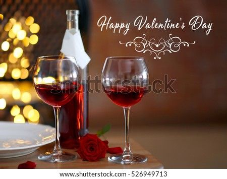 Text Happy Valentine S Day Glasses And Bottle Of Red Wine On Table