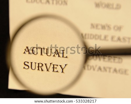 """Text - headline of newspaper article - at loupe. Words """"Actual survey"""" #533328217"""