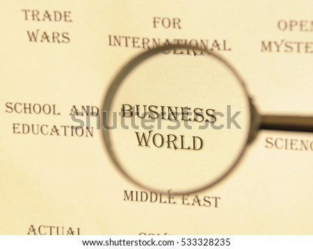 """Text - headline of newspaper article - at loupe. Words """"Business world"""" #533328235"""