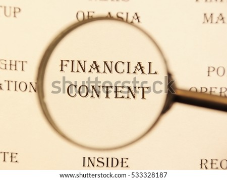 """Text - headline of newspaper article - at loupe. Words """"Financial content"""" #533328187"""