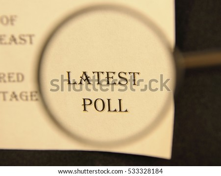 """Text - headline of newspaper article - at loupe. Words """"Latest poll"""" #533328184"""