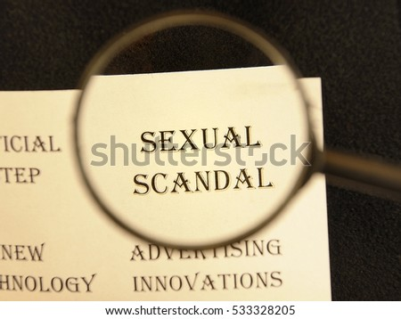"""Text - headline of newspaper article - at loupe. Words """"Sexual scandal"""" #533328205"""