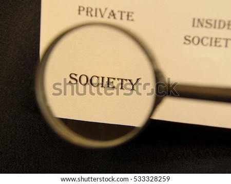 """Text - headline of newspaper article - at loupe. Words """"Society"""" #533328259"""