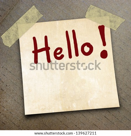 text hello draw on  paper on the packing paper box texture background