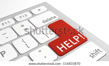 Text Help! on a keyboard in red with selective focus on the red key.