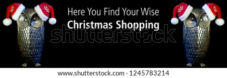 Text Here You find your wise Christmas Shopping. OWLs with Santa Claus hat, Smart and wise christmas shopping! Owls Concept #1245783214