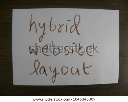 Text hybrid website layout hand written by brown oil pastel on white color paper #1045345009