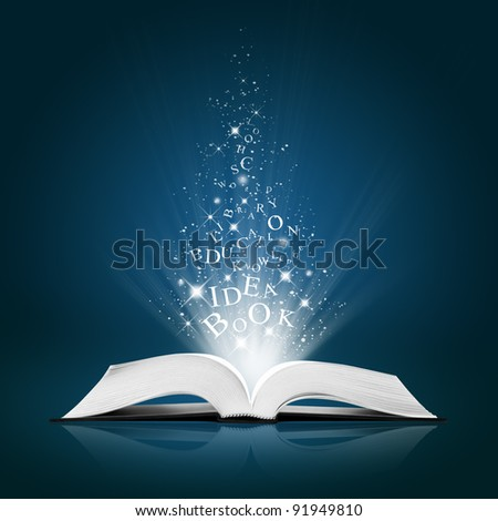 text idea on open white book