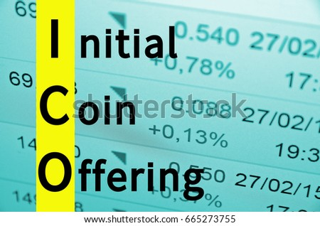 Text Initial coin offering, financial data visible on the background.