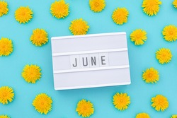 Text June on light box and yellow dandelions on blue background. Concept hello summer. Top view Flat lay.