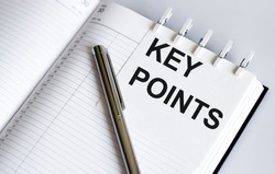 text KEY POINTS on short note texture background with pen