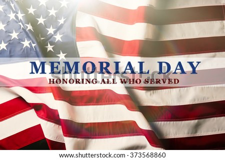 Text Memorial Day on American flag background #373568860