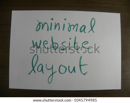 Text minimal website layout hand written by green oil pastel on white color paper #1045794985