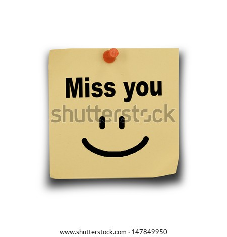text miss you on note paper and pin on white background #147849950