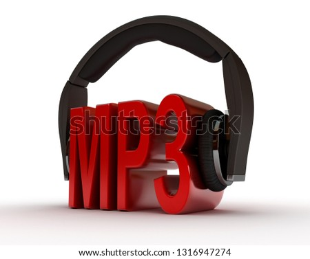 Text MP3 and handphones on white isolated background. 3D rendering illustration