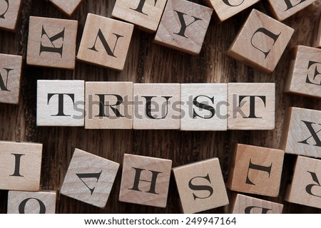 text of TRUST on cubes #249947164