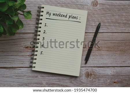 Text on notepad on wooden table Stock photo ©
