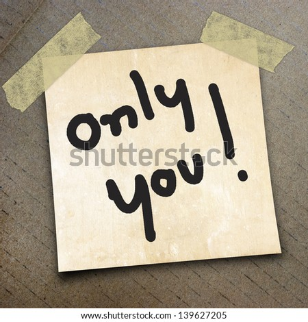 text only you  write on  paper on the packing paper box texture background
