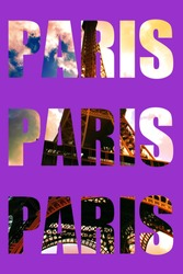 Text Paris repeated three times over image of Effiel tower, using Clipping mask with text