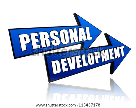text personal development in 3d blue arrows