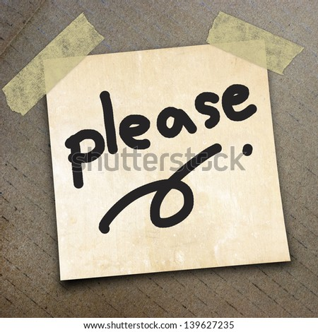 text please write on  paper on the packing paper box texture background