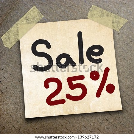 text sale 25%   write on  paper on the packing paper box texture background
